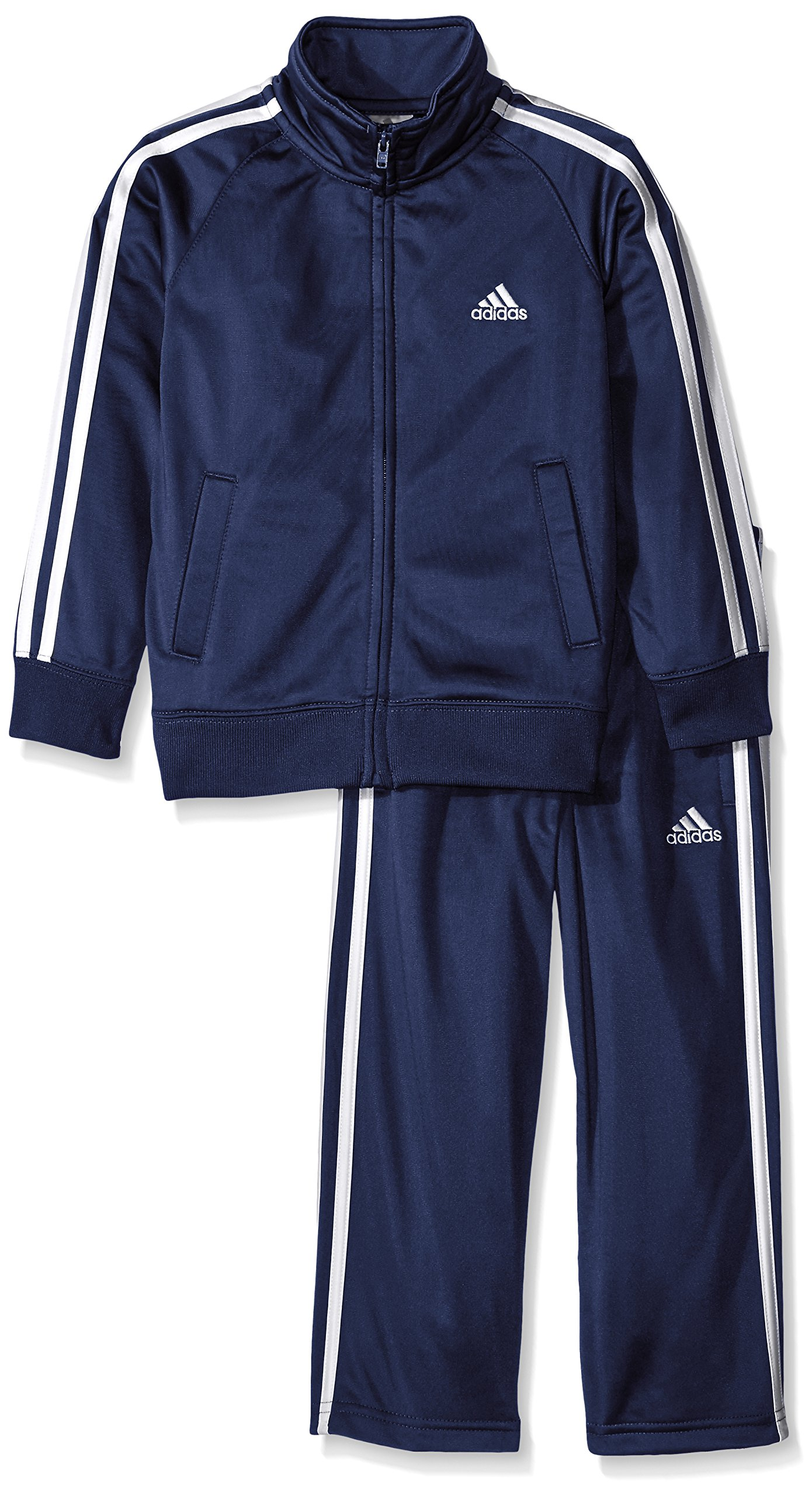 adidas Toddler Boys' Iconic Tricot Jacket and Pant Set, Navy/White, 4 by adidas