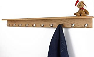 """product image for PegandRail Solid Cherry Shelf Coat Rack with Satin Nickel Single Style Hooks (Natural, 53"""" with 10 hooks)"""