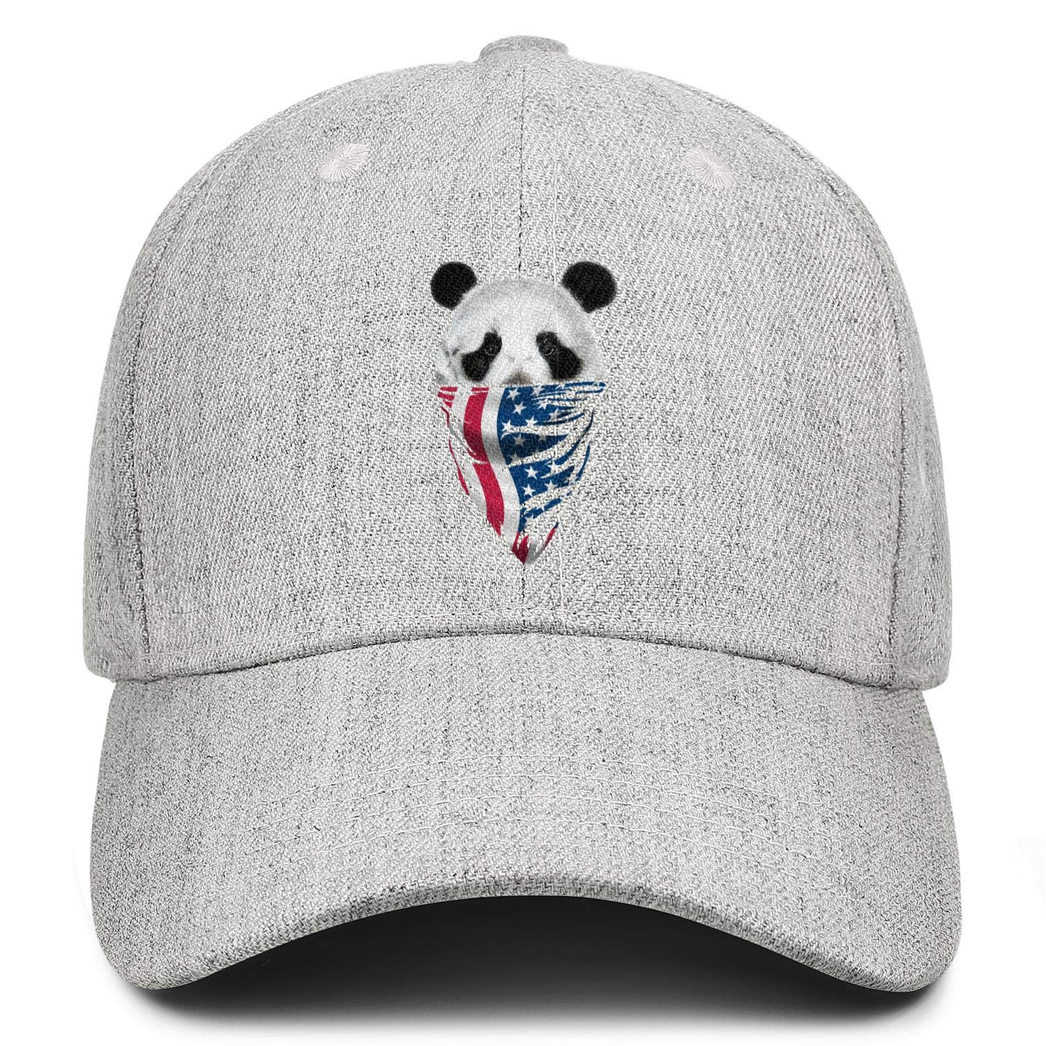Panda Face and American Flag Unisex Baseball Cap Highly Breathable Running Hats Adjustable Trucker Caps Dad-Hat