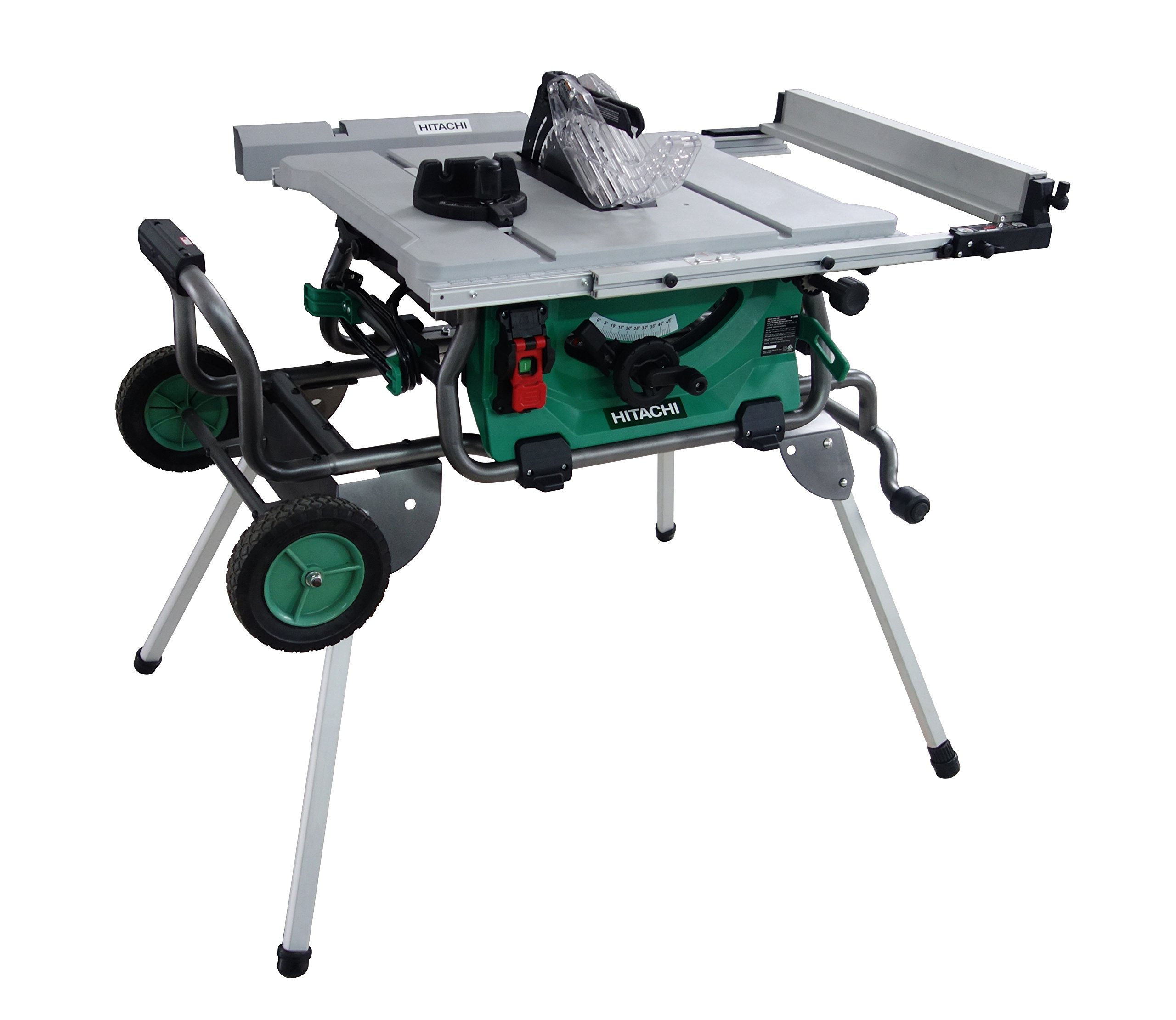 Hitachi C10RJ 10'' 15-Amp Jobsite Table Saw with 35'' Rip Capacity and Fold and Roll Stand