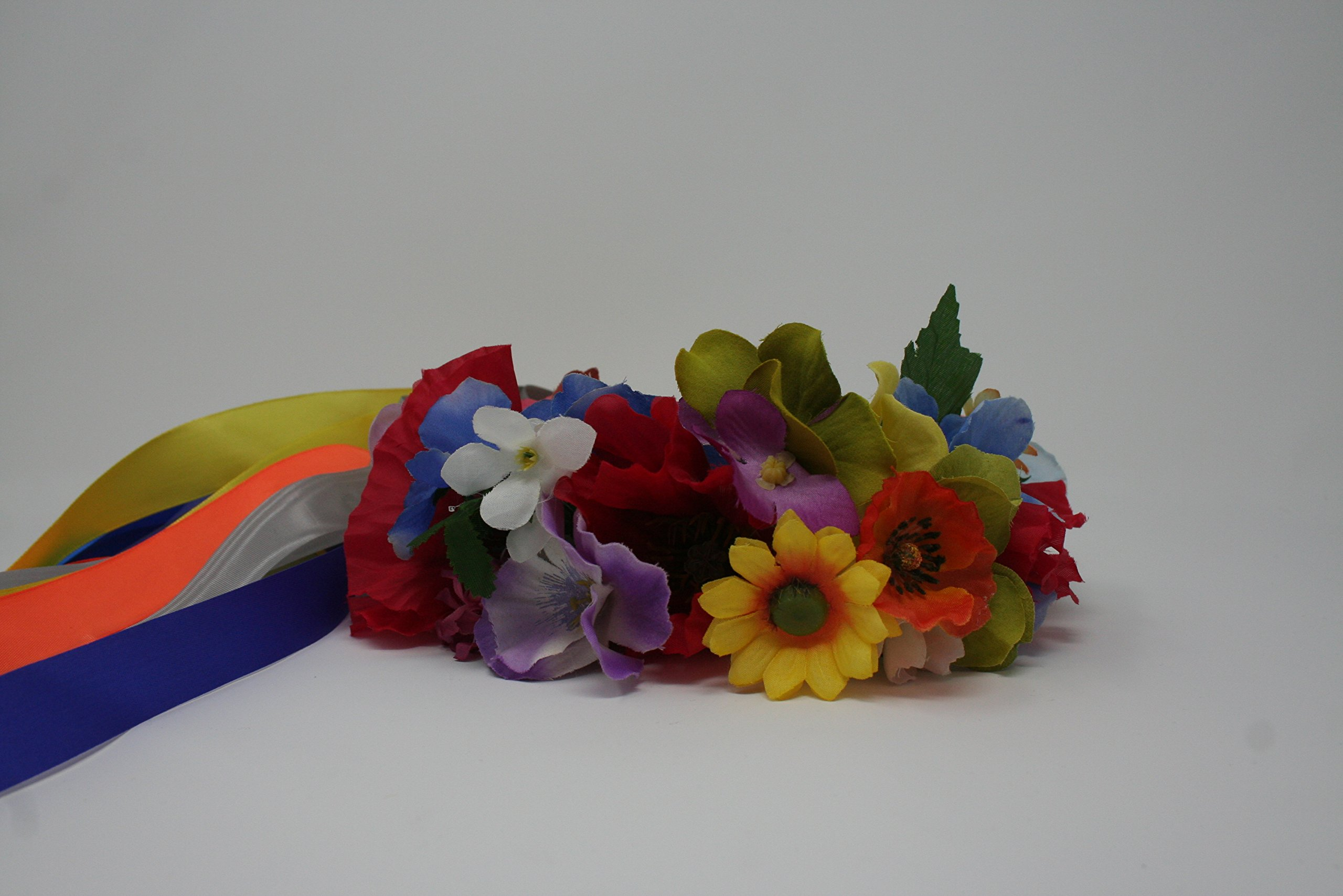 Ukrainian Flower Wreast Headband Vinok with Ribbon
