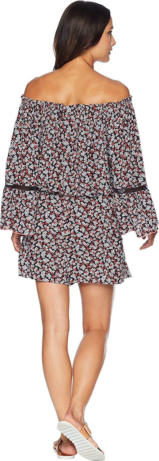 05317ffc1f33 MICHAEL Michael Kors Women s Mini Cherry Blossoms Off The Shoulder Romper  Cover-up w Inset Ladder Trim Rose Pink X-Small at Amazon Women s Clothing  store