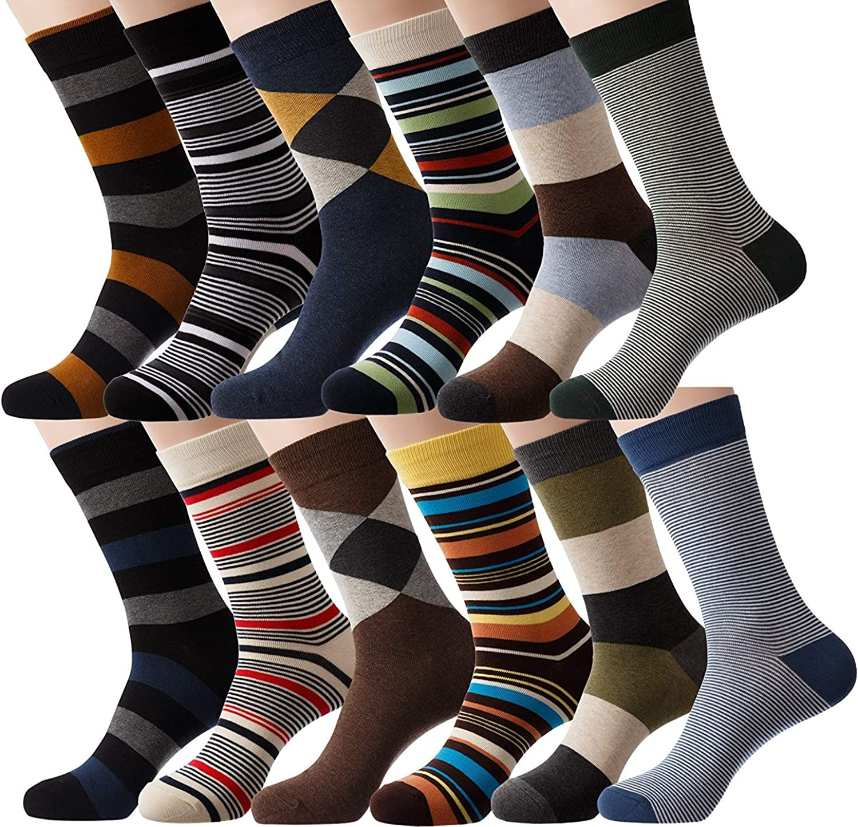 YourFeet Men/'s 12 Pairs Cotton Colorful Stripe Argyle Designed Business Dress Socks Gift Size 9-12