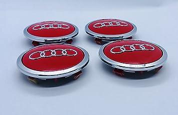 Juego de cuatro tapacubos de Audi de color rojo, placas de 69 mm 4B0601170A 8T0 601 170 A, de cromo: Amazon.es: Coche y moto