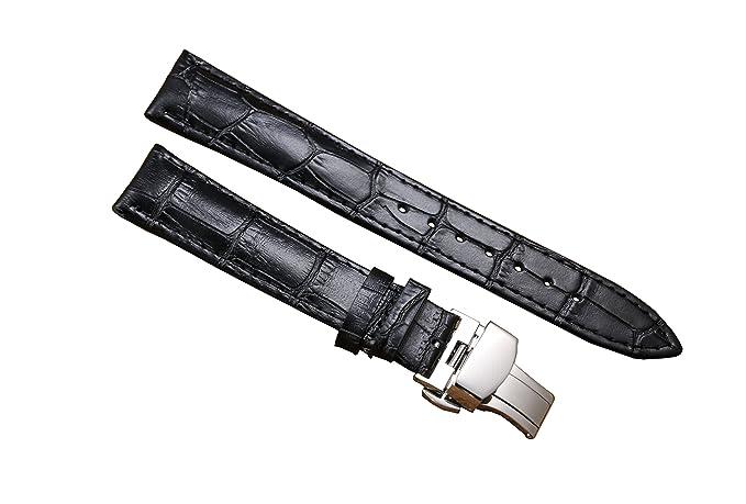20mm negro de lujo correas de reloj de cuero de las mujeres de negocios correas moderada mariposa broche de plata genuina piel de vaca: Amazon.es: Relojes