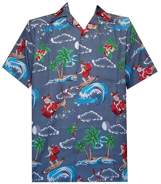 ALVISH Camisa Hawaiana para Hombre, Navidad, Santa Claus Fiesta, Aloha Holiday Beach - Gris - XX-Large: Amazon.es: Ropa y accesorios