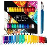 Acrylic Paint Set by Crafts 4 ALL Perfect for Canvas, Wood, Ceramic, Fabric. Non Toxic & Vibrant Colors. Rich Pigments Lastin