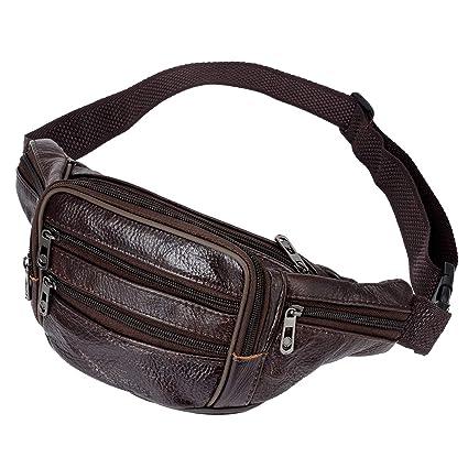 5ef55bda5d70 Amazon.com   DEVPSISR Men's Genuine Leather Fanny Pack Multi-pocket ...