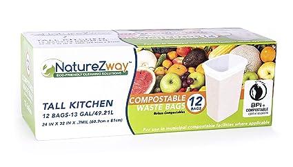 Amazon.com: Compostable & Biodegradable Tall Kitchen Trash ...