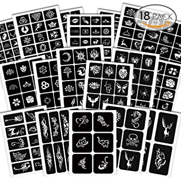 Alohar 285 Pcs Unique Temporary Tattoos Stencils 18 Sheets Girls