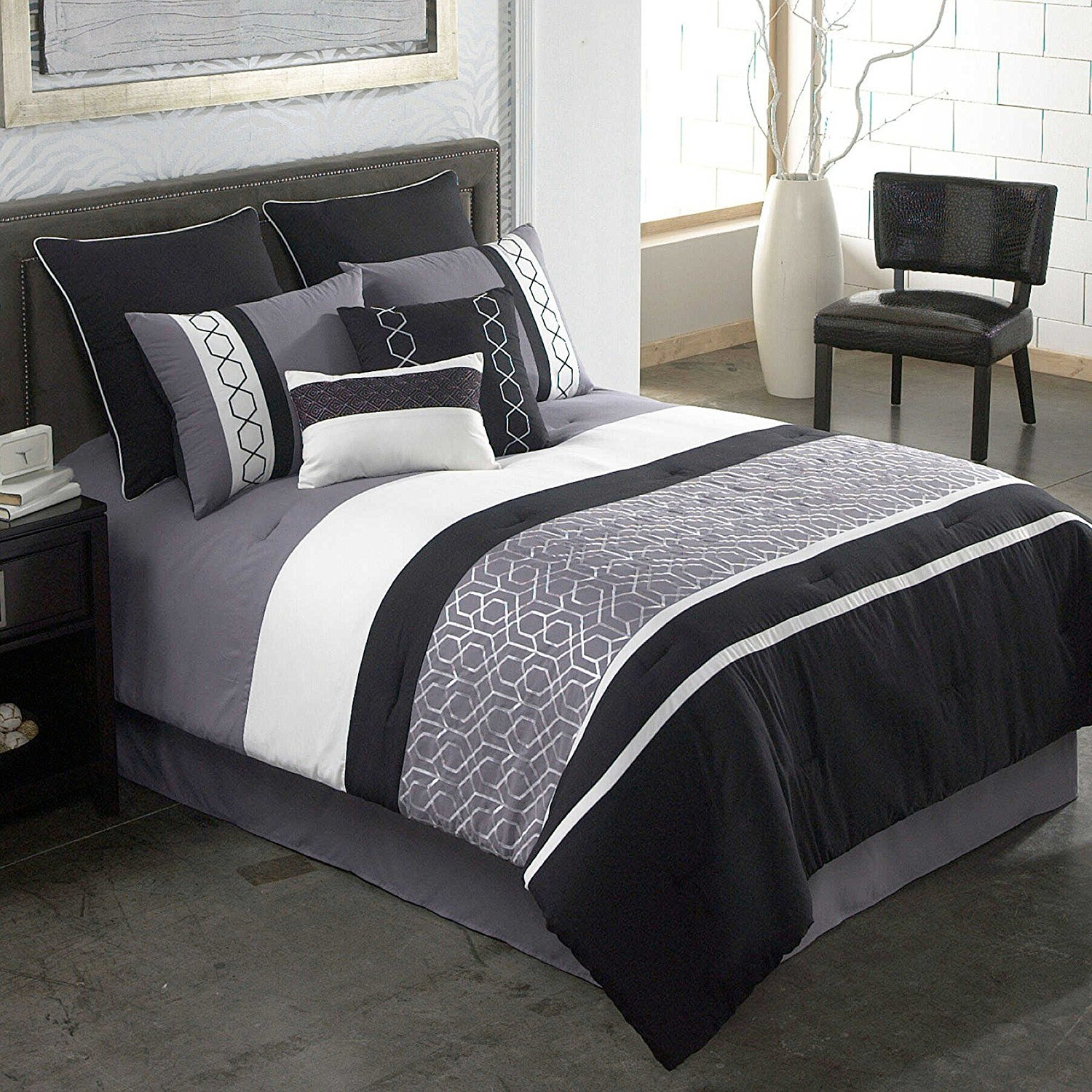 Modern Elegant Luxury Striped Patterned Bedding Hotel Bed Black Grey Comforter Set for Teen Girls, QUEEN (8 Piece Bed in a Bag)