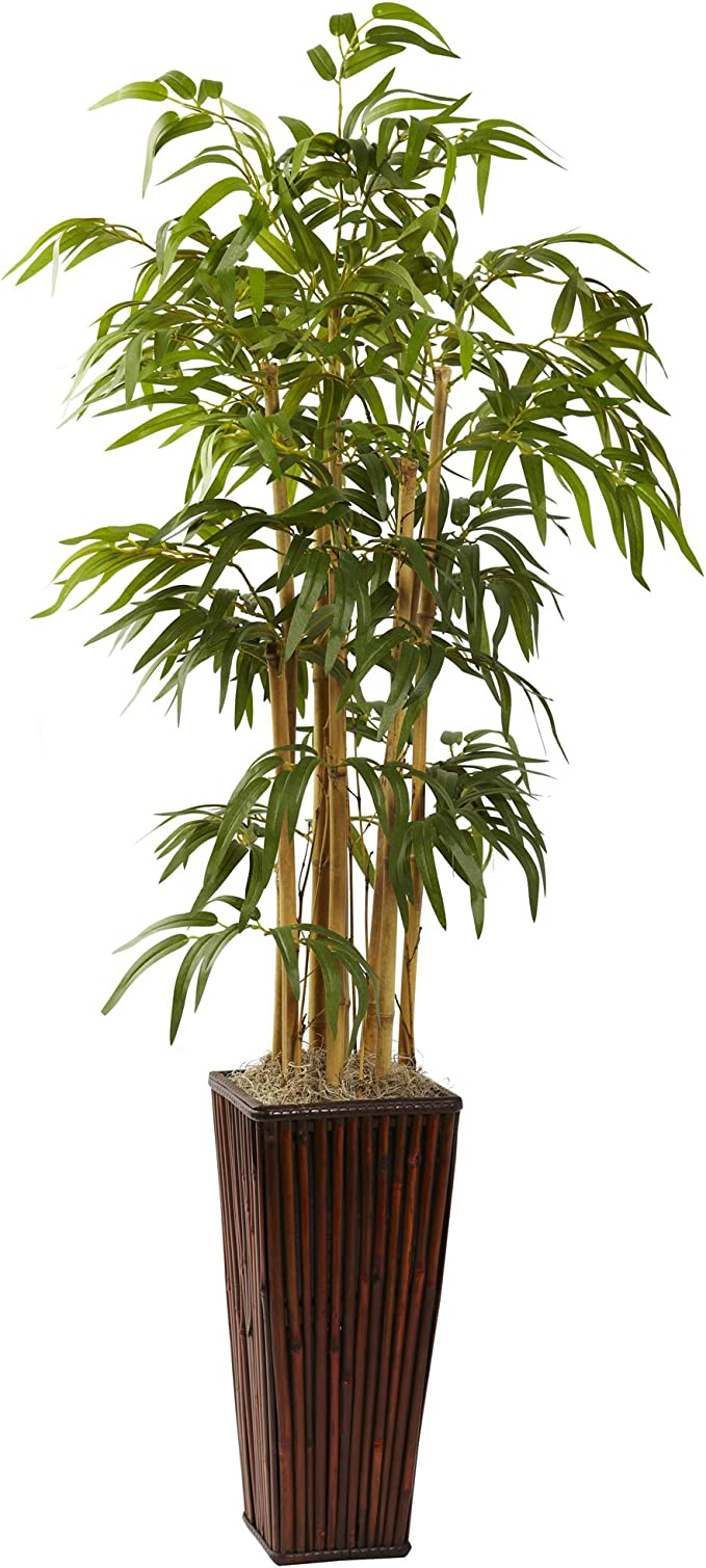 Amazon Com Nearly Natural 4ft Bamboo With Decorative Planter Artificial Plant Green Home Kitchen