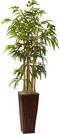 Nearly Natural 4ft Bamboo With Decorative Planter Artificial Plant Green Home Kitchen