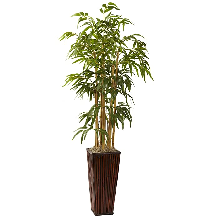Nearly Natural 6737 4-Feet Bamboo with Decorative Planter, Green