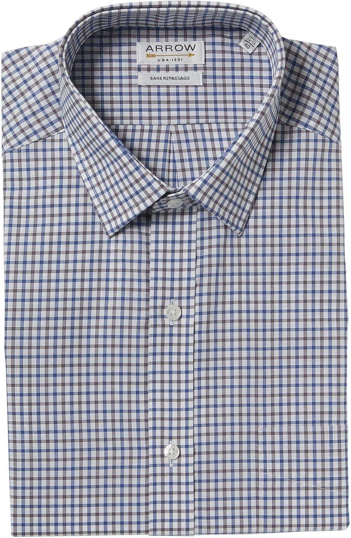 Arrow - Camisa de manga corta sin planchar, color azul y gris ...