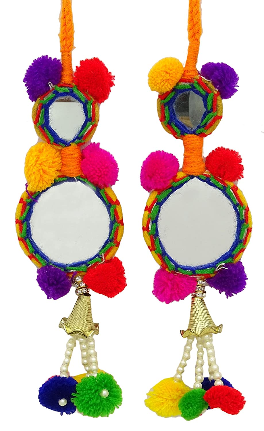 Yellow Pom Pom Tassels Beaded Craft Supply Sari Latkans Sewing Accessory 1 Pair