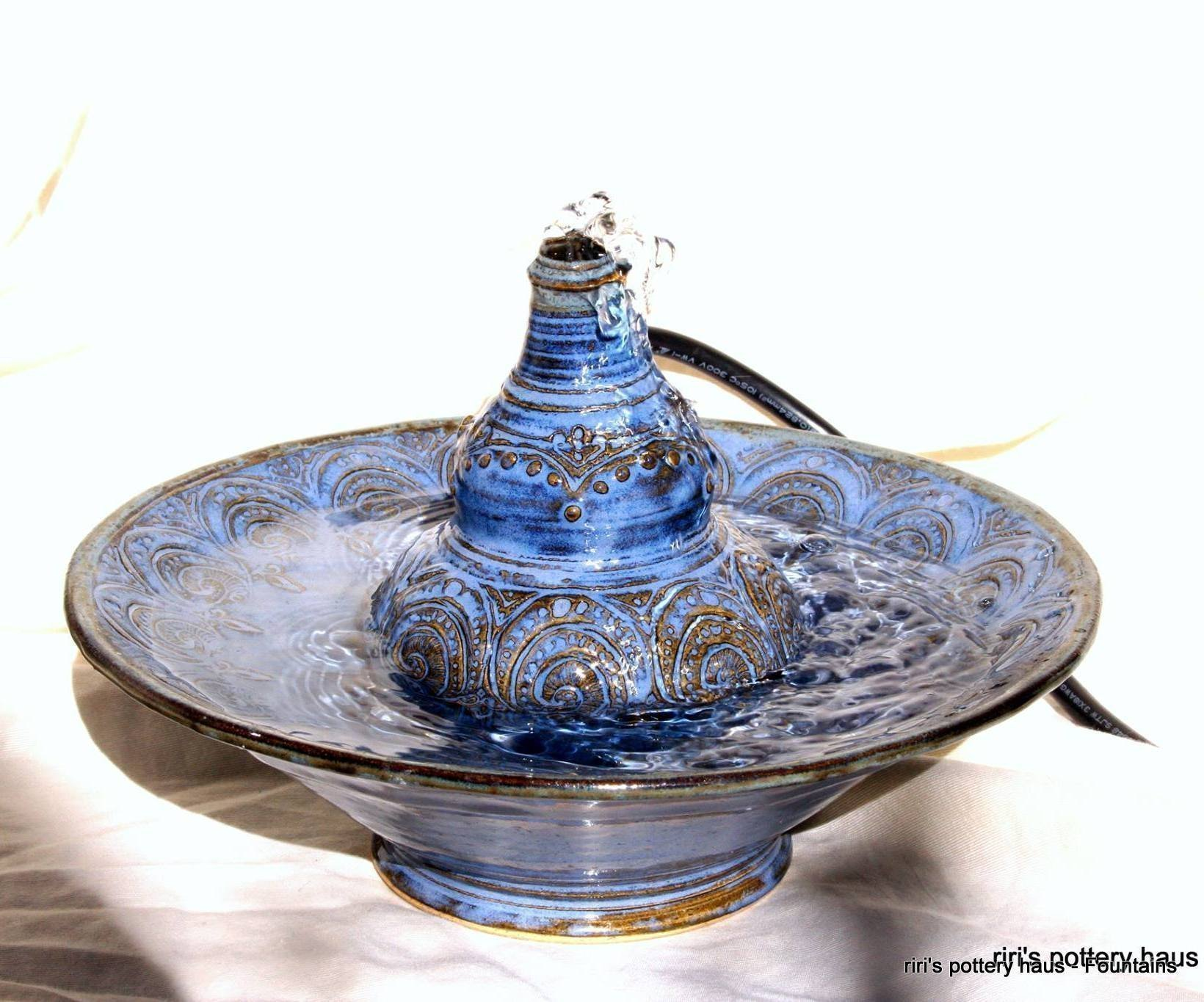 Custom small wheel-thrown stoneware tabletop or cat fountain - a soothing dose of tabletop serenity!