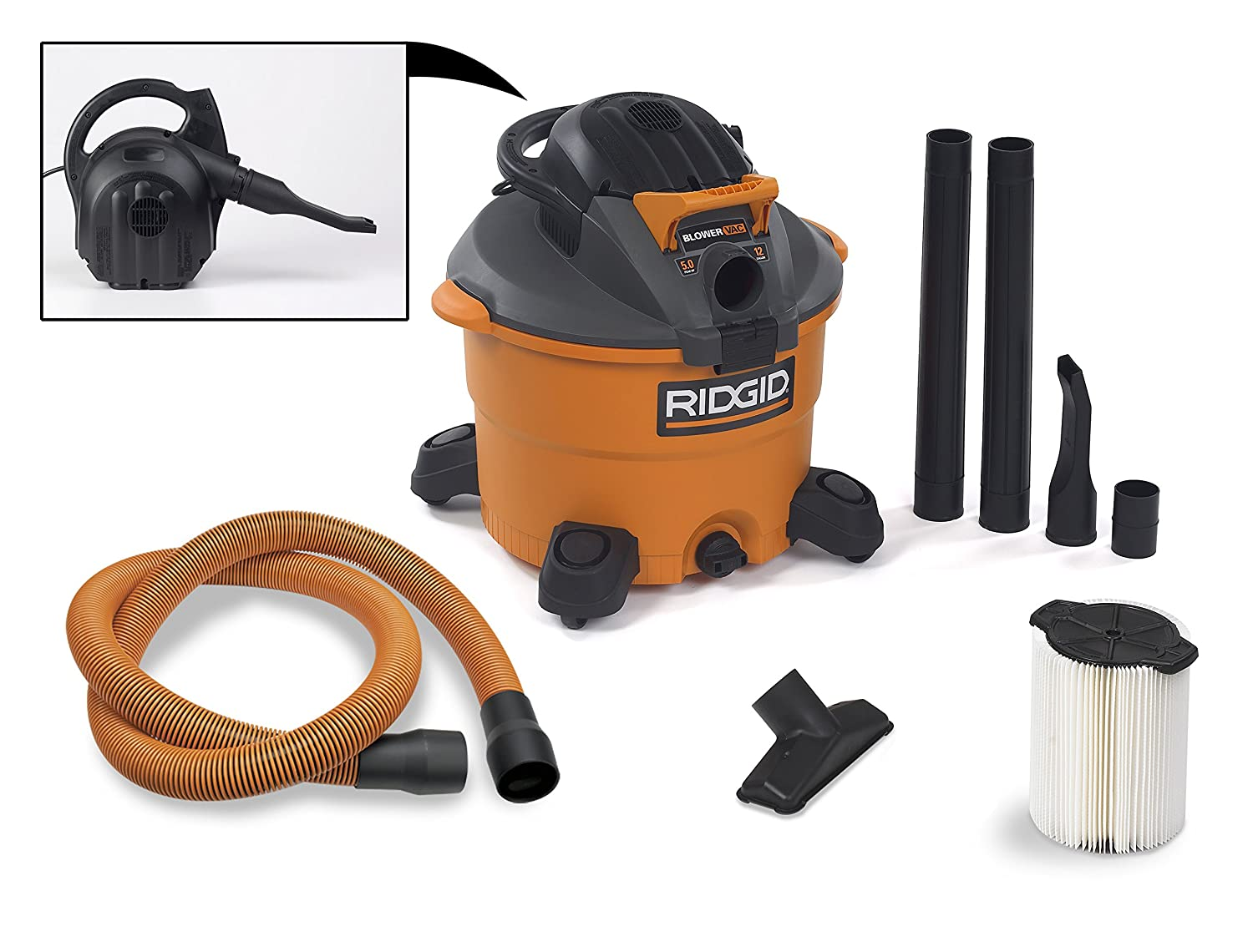 Charming Amazon.com: RIDGID Wet Dry Vacuums VAC1200 Heavy Duty Wet Dry Vacuum Cleaner  And Blower Vac, 12 Gallon, 5.0 Peak Horsepower Detachable Leaf Blower Vacuum  ...
