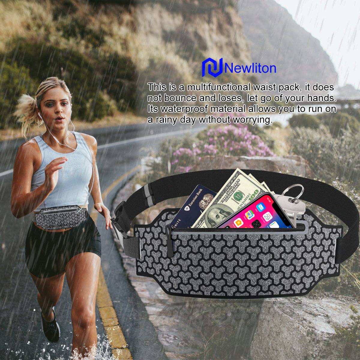 Newliton Running Belt Clip for Women Men - Headphone Fanny Pack Bag Belt Holder for Multiple Phone Models in Outdoor Sport (Black)