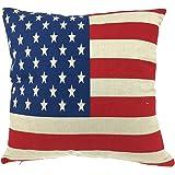 "Luxbon USA American Flag Stars & Stripes Cushion Cover Durable Cotton Linen Sofa Throw Pillow Case Home Decor 18""X18"" 45x45cm"