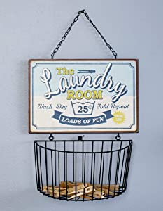"Laundry Room Wall Basket with Vintage-Style Sign -""Loads of Fun"""