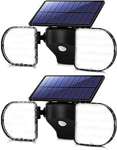 OUSFOT Solar Motion Sensor Light Outdoor 56 Led IP65 Waterproof Outdoor Solar Lights 360 Degrees Adjustable Dual Head Solar Security Lights with Motion Sensor for Front Door Yard Garage Garden 2 packs