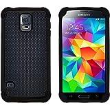 GizzmoHeaven Samsung Galaxy S5 / S5 Neo Hülle Stoßfest Handy Schutzhülle Stoßgedämpfter Extraharte Tasche Silikon Gel Hybrid Armor Cover Case Etui für Samsung Galaxy S5 (i9600) - Schwarz