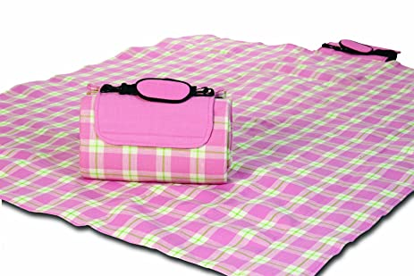 Picnic Plus Mega Mat Waterproof Stadium Blanket With Shoulder Strap Pink Plaid