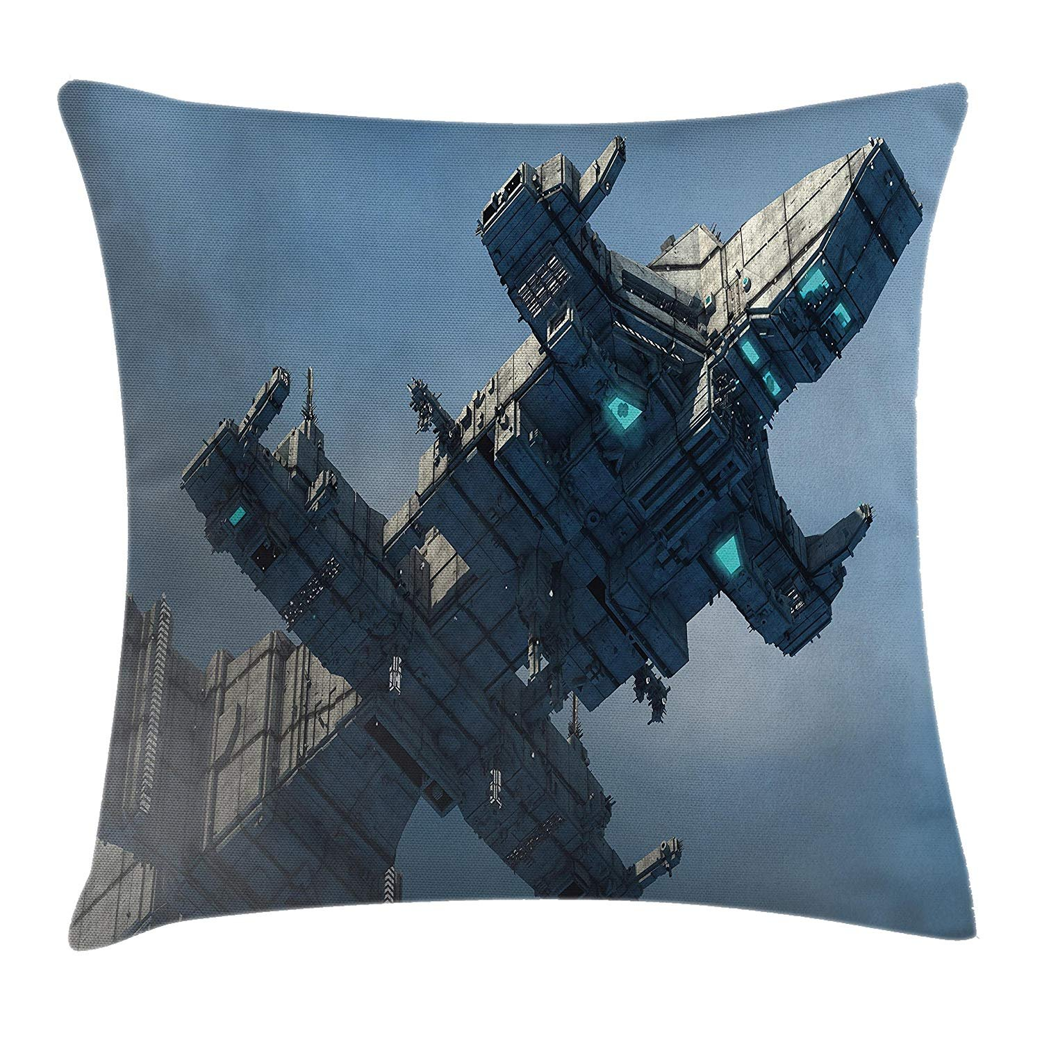 Queen Area Outer Space Decor Photo of Huge Military Ship in the Air Solar Planetary Cosmos Vehicle Square Throw Pillow Covers Cushion Case for Sofa Bedroom Car 18x18 Inch, Grey Blue