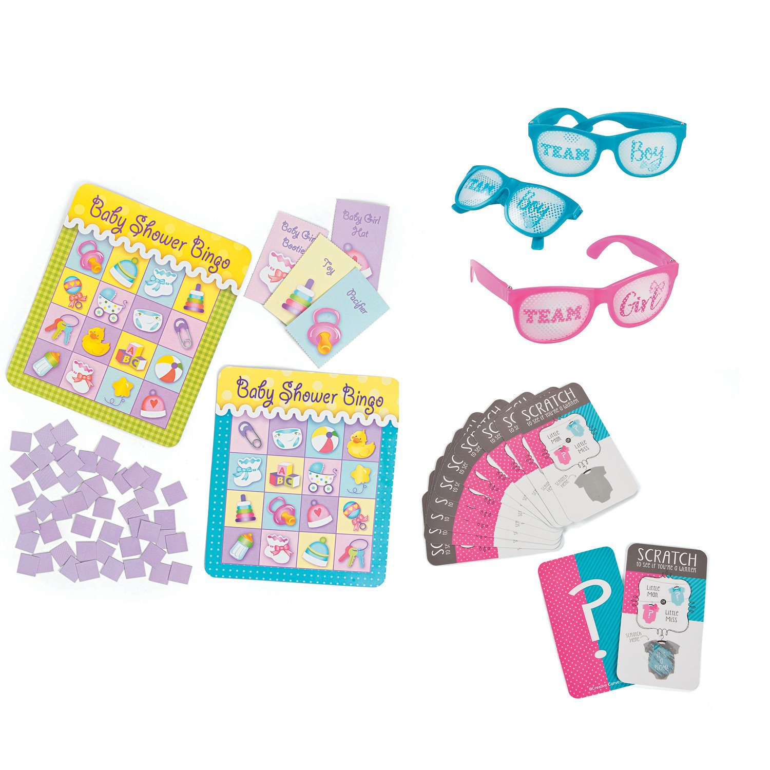 William & Douglas Team Boy & Team Girl Party Bundle | Games & Favors for Boy Gender Reveal Parties | Scratch-Off Game - Boy, Team Boy & Team Girl Pinhole Glasses and Baby Shower Bingo Game by William & Douglas