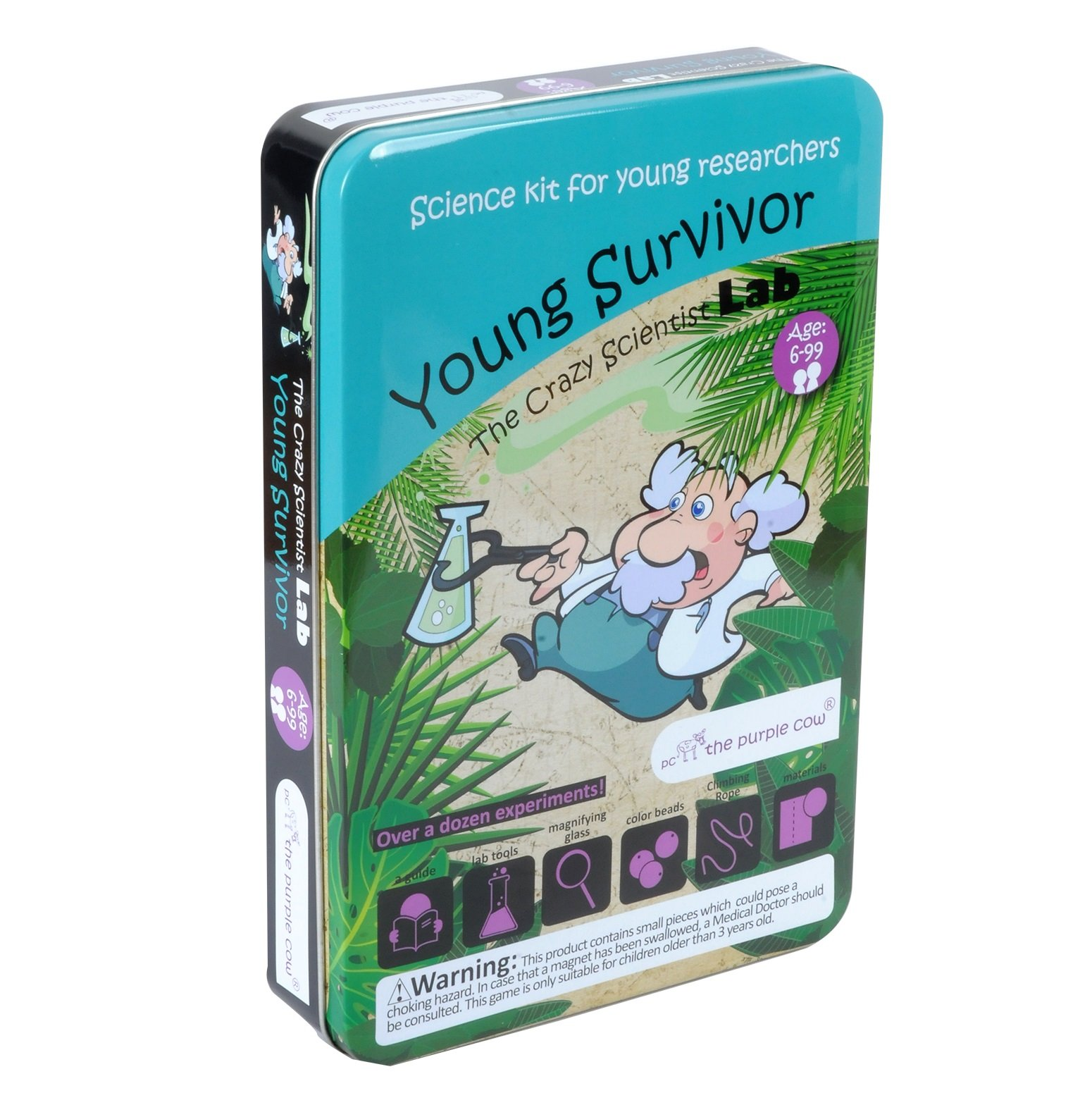 The Purple Cow - The Crazy Scientist - Young Survivor, Survival Skill Box for Learning and Education, with Instructions for Kids Aged 8+