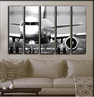 large set airplane wall art decor picture jet aircraft turbine decoration on canvas aviation
