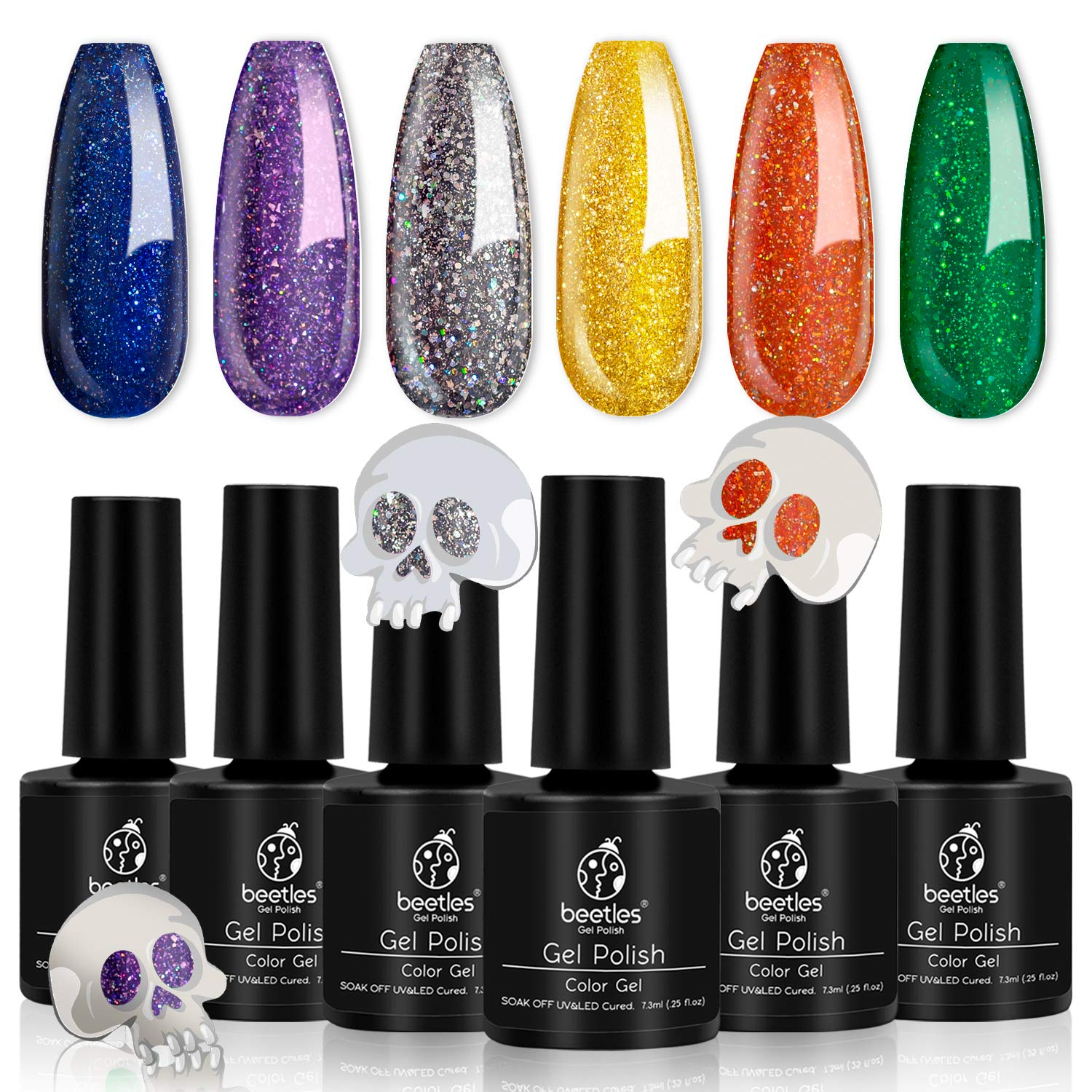 Beetles Sugar Skull Halloween Gel Nail Polish Set, 6 Pcs Purple Gold Glitter Gel Polish Kit Orange Green Nail Polish Gel Kit Art Design Gift Box, Soak Off UV LED Gel Nail Lamp Cured, 7.3ml Each Bottle by beetles Gel Polish