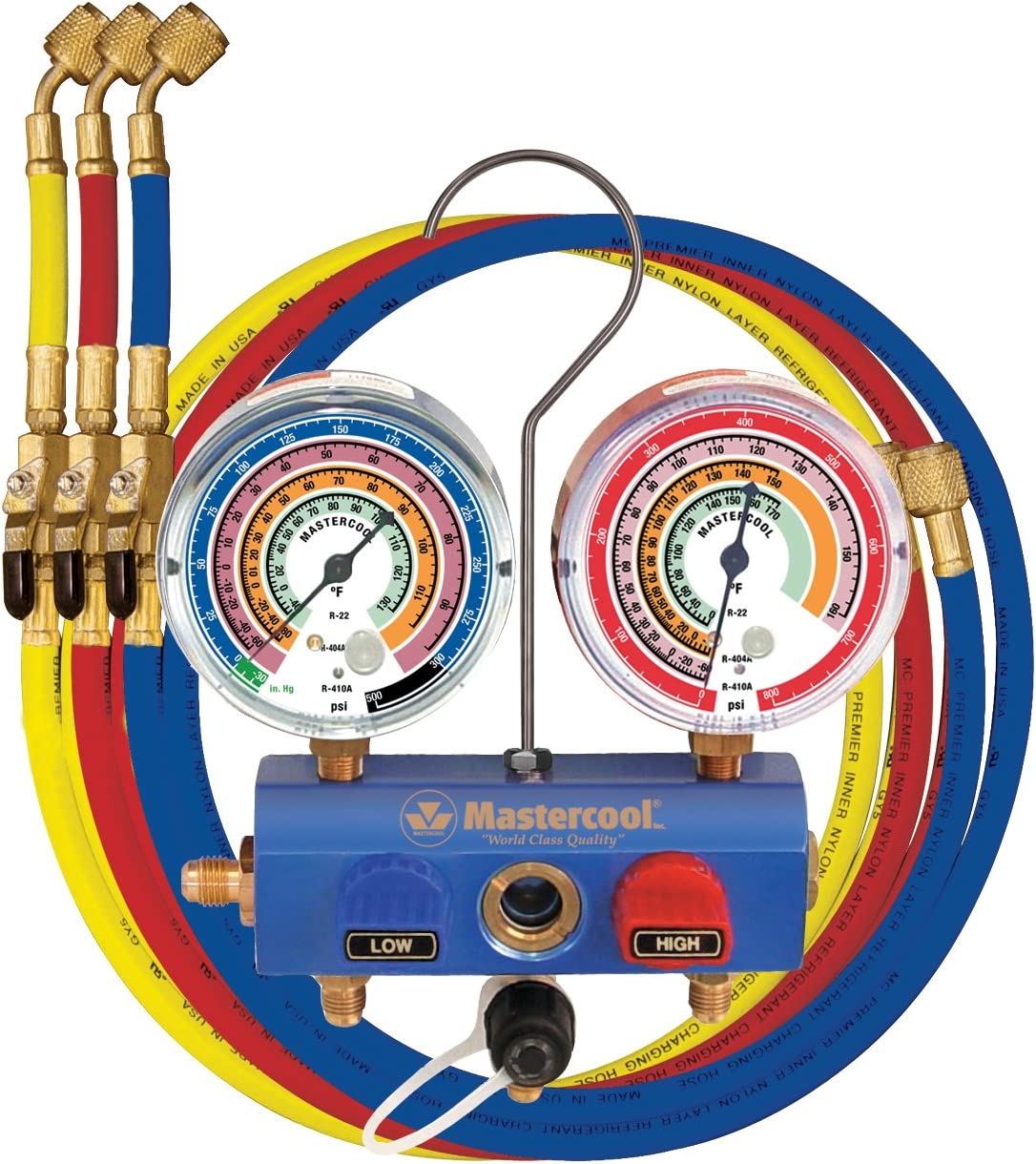 "Mastercool (59661) Blue R410A, R22, R404A 2-Way Manifold Set with 3-1/8"" Gauges and 60"" Hoses"