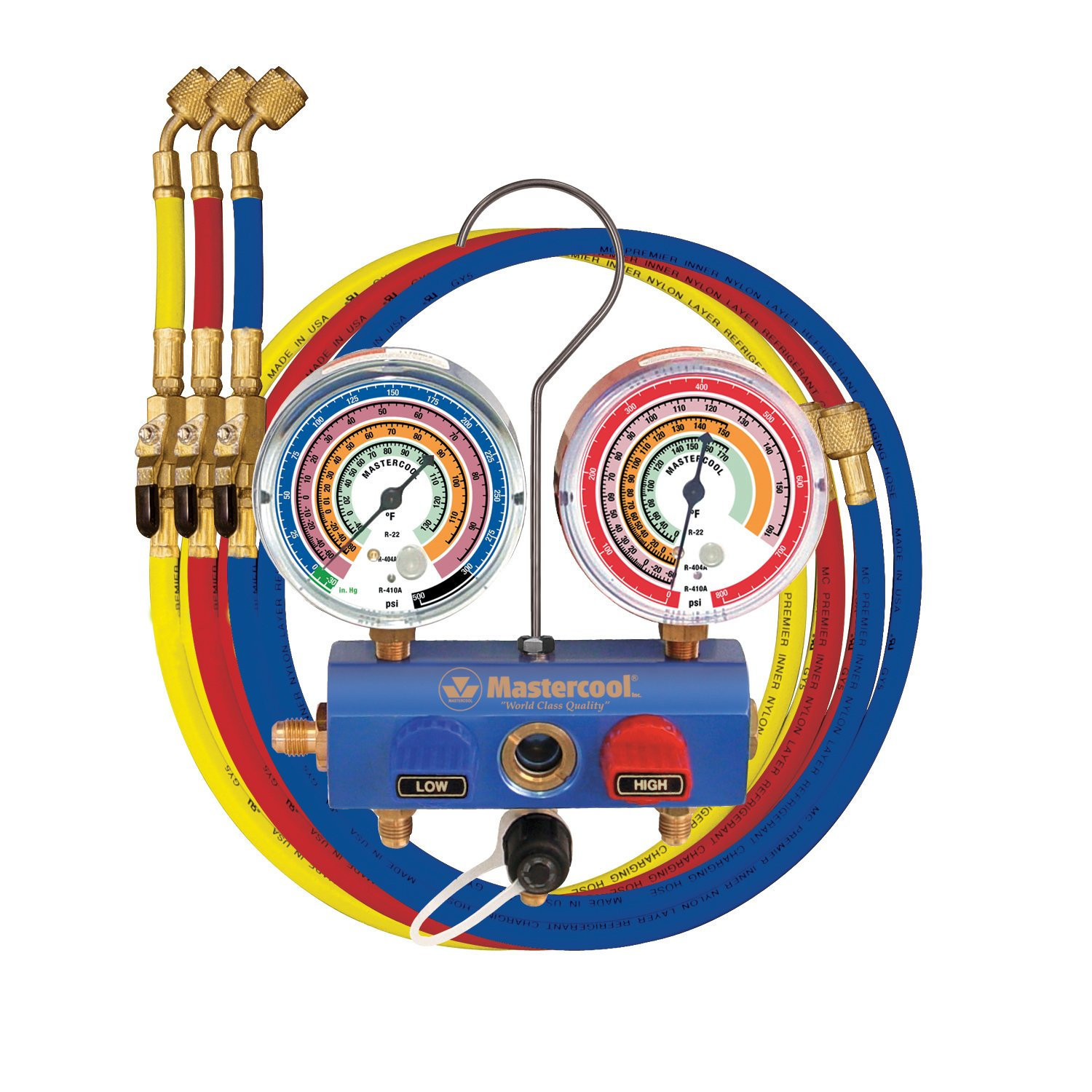 59661 R22 R404A 2-Way Manifold Set with 3-1//8 Gauges and 60 Hoses Blue R410A Mastercool