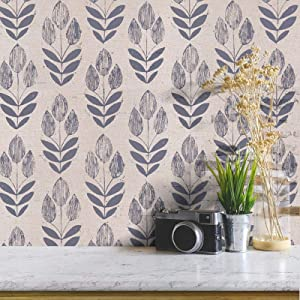 """Tulip Leaf Peel and Stick Wallpaper Contact Paper Decorative Removable Wallpaper Neutral Wallpaper Stick and Peel Texture Self-Adhesive Wall Paper Vinyl Film Wall Covering 17.7""""x 78.7"""""""
