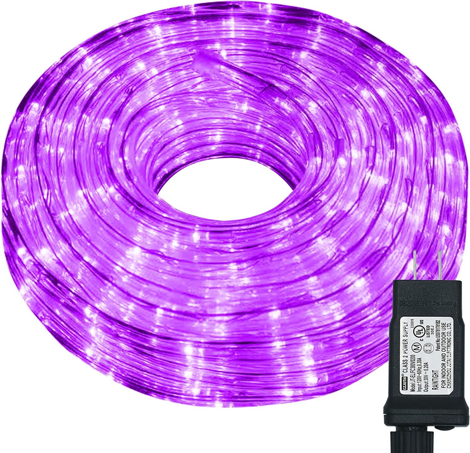 Hezbjiti LED Rope Lights, 240 LED 33ft 8 Modes Control Flexible Low Voltage Rope Lights, Indoor Outdoor Waterproof Tube Light for Gardens, Home, Party, Christmas (240 LED, Purple)