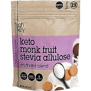 HighKey Monk Fruit Stevia Erythritol & Allulose Sweetener Blend – Keto, Diabetic & Paleo Friendly – Granulated Low Calorie Natural Sugar Substitute – Gluten Free, Non GMO, Vegan, Kosher – 1LB / 16oz