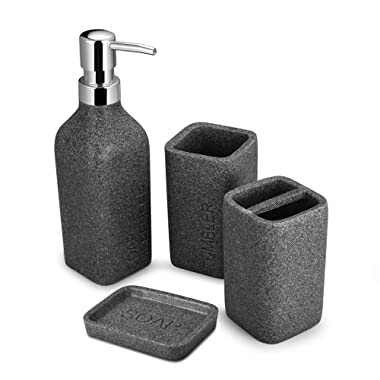 TtoyouU 4pcs Bath Accessory Set, Stone Textured Dark Grey Resin Soap Dish, Soap Dispenser,Toothbrush Holder & Tumbler Bath Ensemble Bathroom Accessory Collection Set