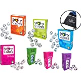 Rory's Story Cubes Bundle - Includes Rory's Story Cubes Original, Actions, Voyages, Fantasia, & Mix Expansions Prehistoria, Enchanted, Clues (7 Items) Gamewright & Myriads Drawstring Bag