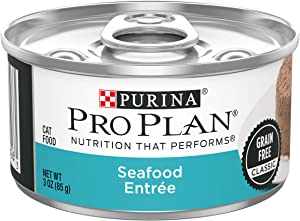 Purina Pro Plan Grain Free Pate Wet Cat Food, Seafood Entree - (24) 3 oz. Cans