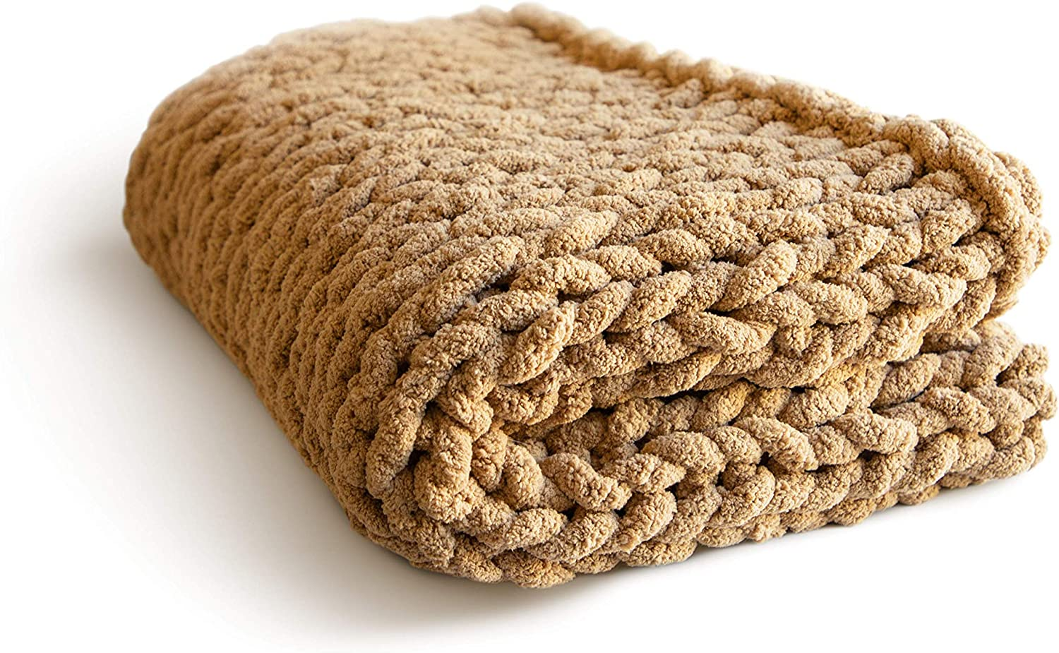 """MONKSIE Luxury Chunky Knit Blanket with Plush Chenille Knitted Fabric, 47"""" x 59"""", Soft and Warm Decorative Throw for Living Room, Bedroom, and Home Decor (Camel Brown)"""