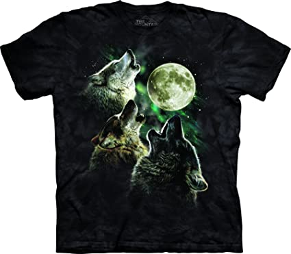 aafe24c044 Amazon.com  The Mountain Adult Unisex T-Shirt - Three Wolf Moon ...