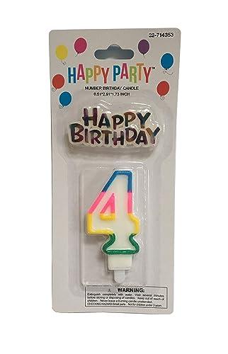 Vela de cumpleaños blanca con borde de color brillante con ...