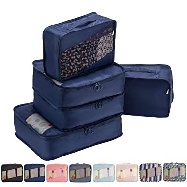 Allfourior Travel Packing Cubes -5 Set Compression Package Luggage Organizer