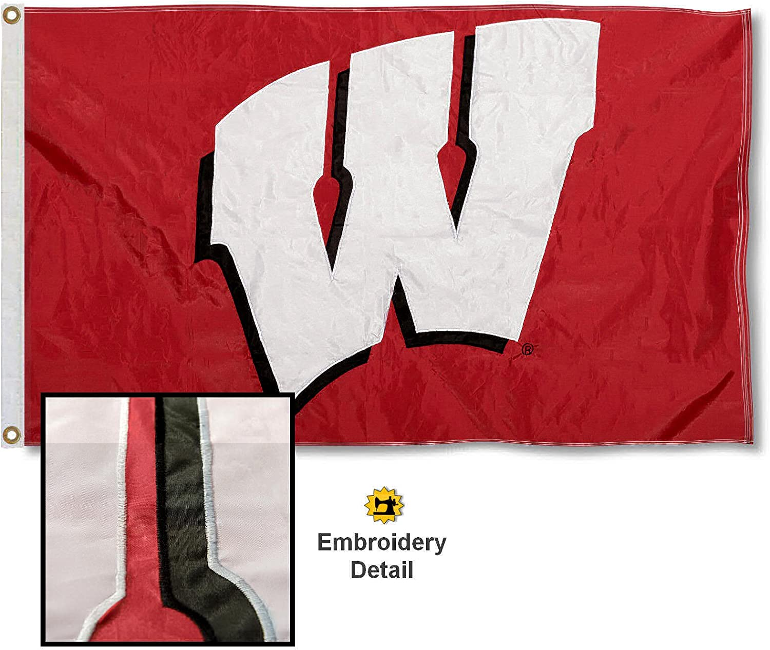 University of Wisconsin Embroidered and Stitched Nylon Flag