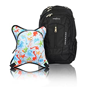 Bern Diaper Backpack, Shoulder Baby Bag, With Food Cooler, Clip to Stroller (Black/Dinos)
