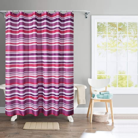 Deco Window Polyester Waterproof Shower Curtain With 12 Hooks 71w