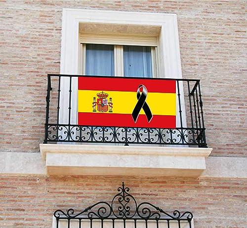 Pancarta, Bandera con lazo negro, crespón, [120x60cm] lona para balcón, Bandera de España: Amazon.es: Handmade