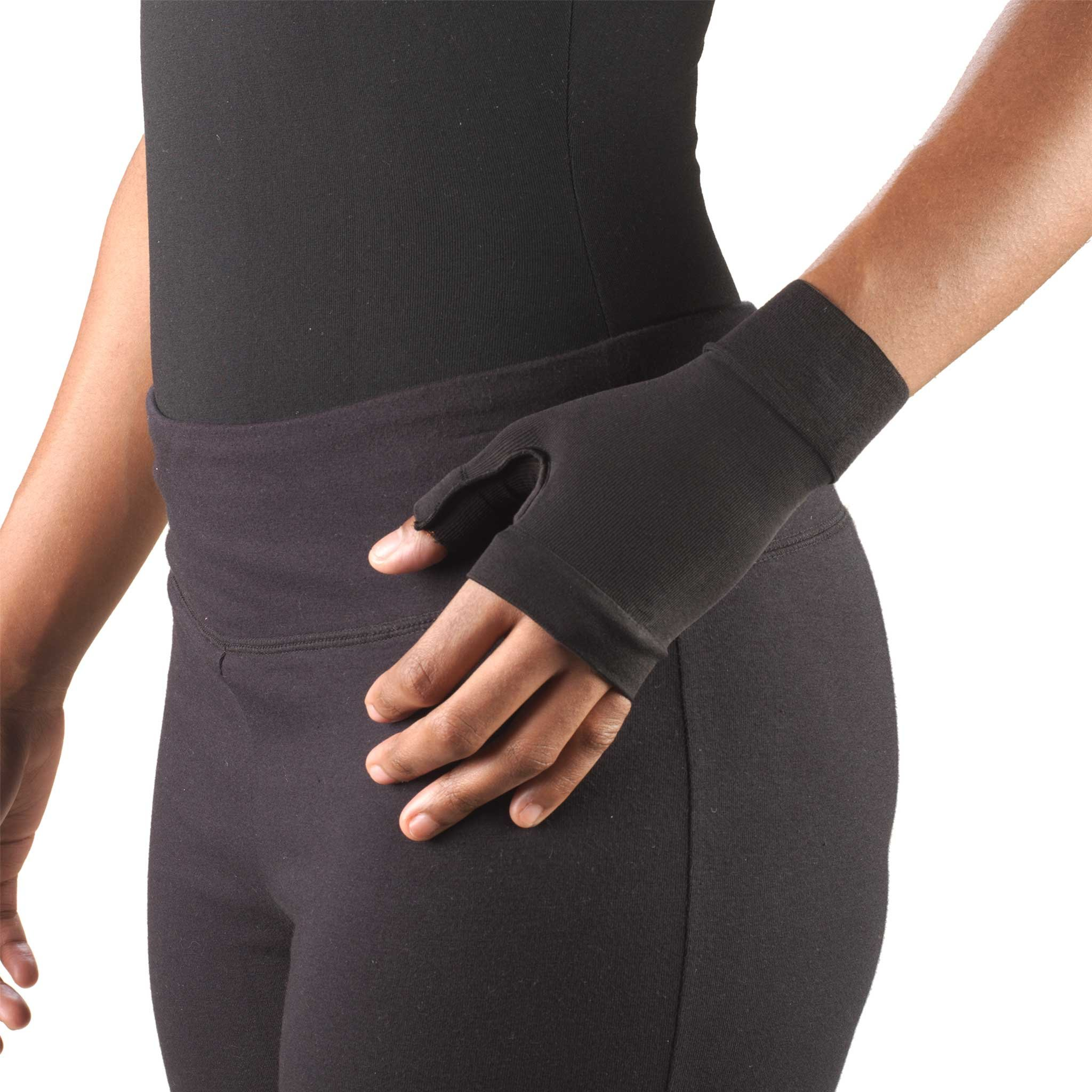 Truform Lymphedema Compression Gauntlet, 20-30 mmHg Post Mastectomy Support, Black, Large (20-30 mmHg)